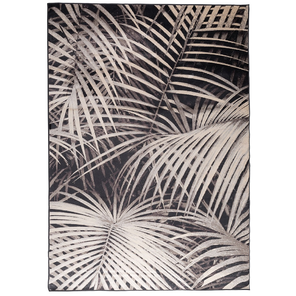Zuiver Tropical Palm Leaf Print Rug By Night Zuiver
