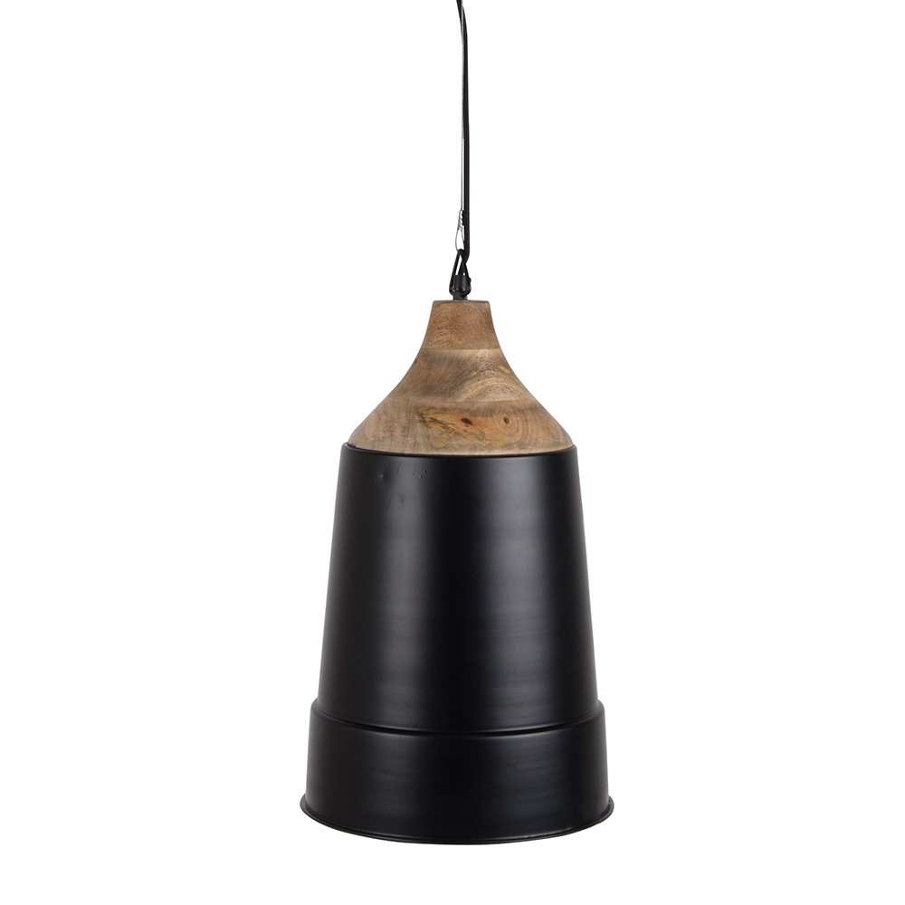 Wood top pendant lamp lighting cuckooland zuiver pendant lamp wood top black cutout close mozeypictures Images