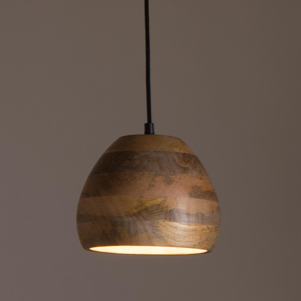 Woody Pendant Lamp In Mango Wood - Lighting