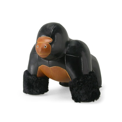 Milo Gorilla Animal Doorstop in Black & Tan