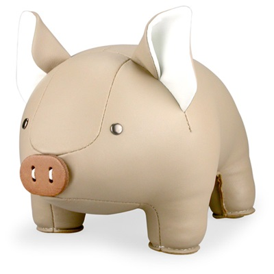 PIG Animal Bookend in Khaki & White