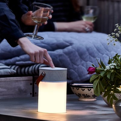 Aglow Bluetooth Outdoor Speaker & Led Light with Gold Front