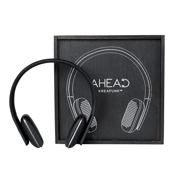Black Edition Kreafunk Bluetooth Headphones with Wooden Gift Box