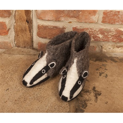 ADULT'S Animal Slippers in Billie Badger Design