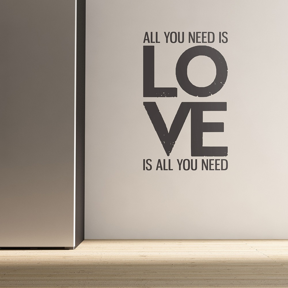 Wall Decor All You Need Is Love : Wall sticker in all you need is love design art