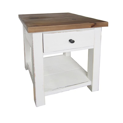 SIDE TABLE WITH DRAW in Distressed Paint Finish