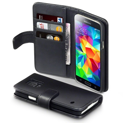 ASTON Samsung Galaxy S5 Leather Wallet Phone Case in Black