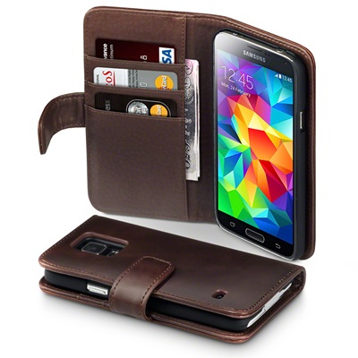 ASTON Samsung Galaxy S5 Leather Wallet Phone Case in Brown
