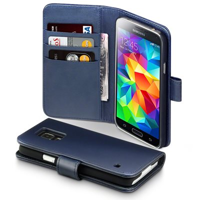 ASTON Samsung Galaxy S5 Leather Wallet Phone Case in Blue