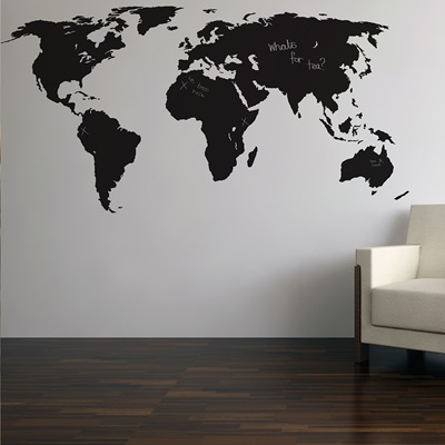 CHALKBOARD WALL STICKER in 'World Map' design