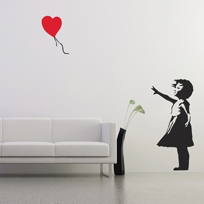BANKSY WALL STICKER in Balloon Girl design