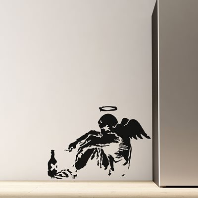 BANKSY WALL STICKER in Fallen Angel Design