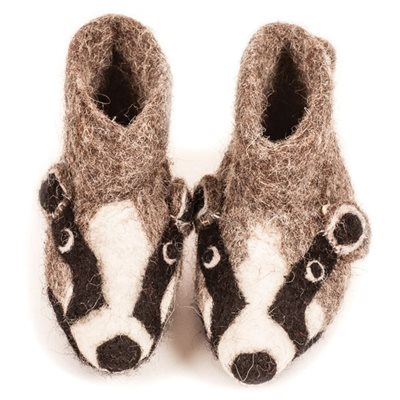 CHILDREN'S Animal Slippers in Billie Badger Design