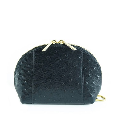 GILLAN Premium Cosmetic Bag Phone Charger in Black Ostrich
