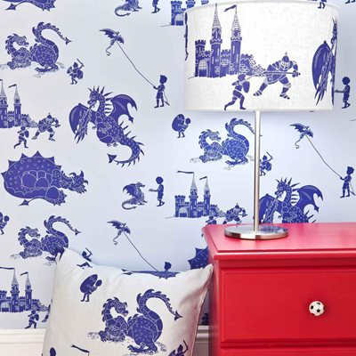 Designer Kids Wallpaper- 'Ere-Be-Dragons' in Blue