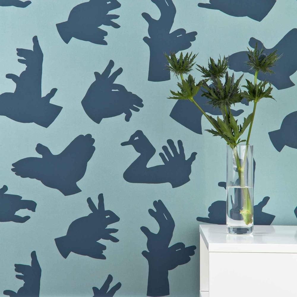 Designer kids wallpaper 39 hand made 39 in blue paperboy for Unique childrens wallpaper