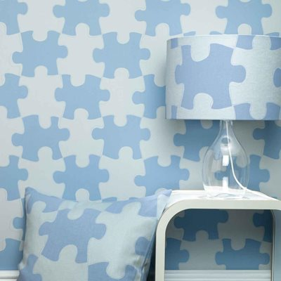 DESIGNER KIDS WALLPAPER- 'It's a Puzzle' in Blue