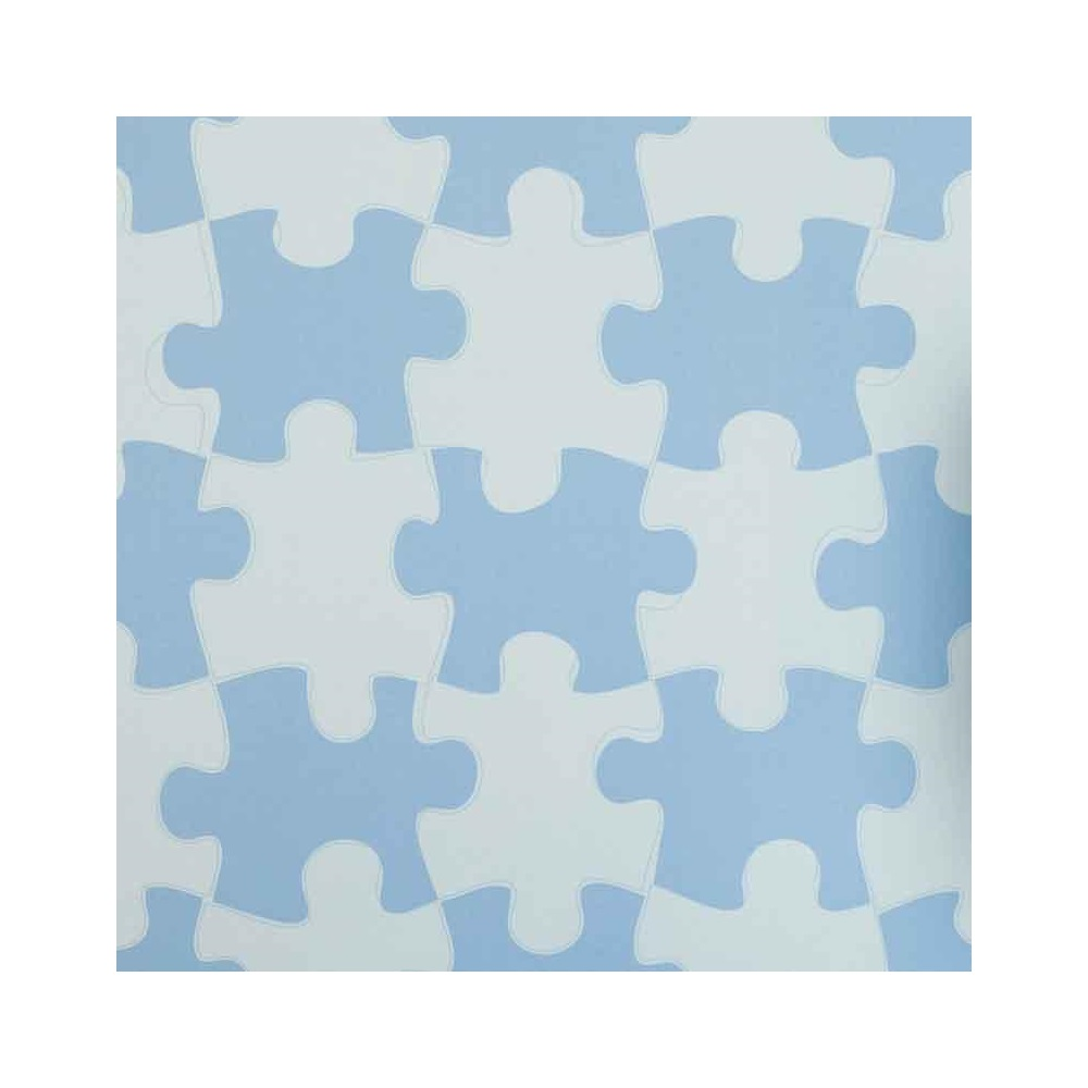 Designer kids wallpaper 39 it 39 s a puzzle 39 in blue for Unique childrens wallpaper