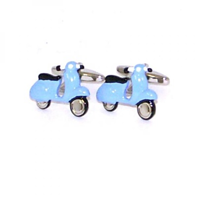 MENS CUFFLINKS in Blue Scooter Design