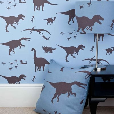 DESIGNER KIDS WALLPAPER- 'D'ya-think-e-saurus' in Blue