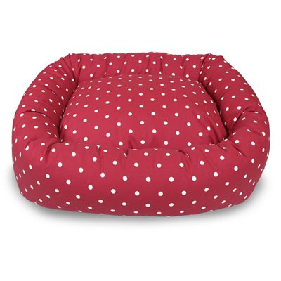 BOLSTER DOG BED in Berry Dotty by Hugo & Hennie