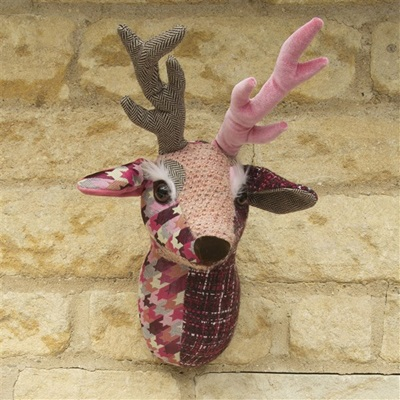 WALL MOUNTED FABRIC TROPHY HEAD in Buck the Stag Design