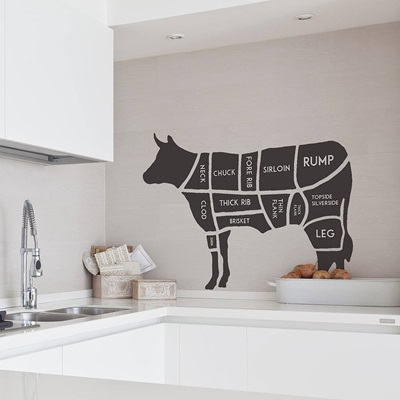 BUTCHERS COW WALL STICKER in Black
