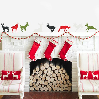 CHRISTMAS REINDEER WALL STICKERS SET