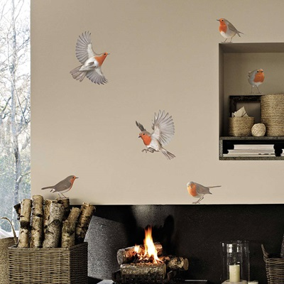 ROBIN WALL STICKERS in Set of Six