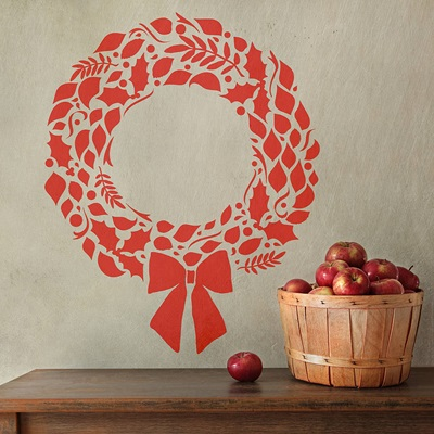 CHRISTMAS WREATH WALL STICKER DECORATION in Red