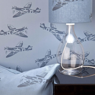 DESIGNER KIDS WALLPAPER- 'Spitfire' in Blue