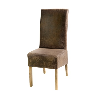 PAIR OF DINING CHAIRS in Faux Distressed Leather