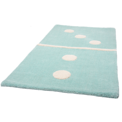 KIDS DECORATIVE RUG in Aqua Blue Domino Design