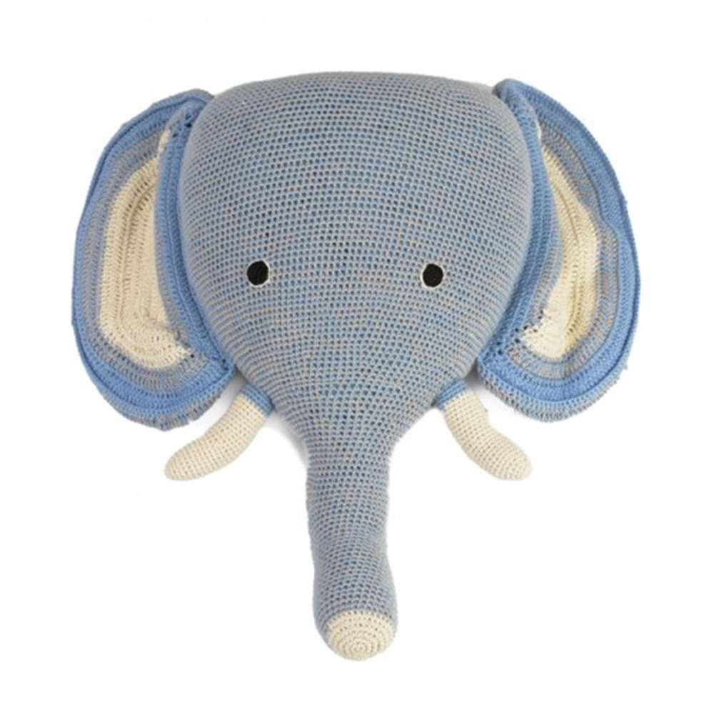 Crochet elephant head wall hanging in blue wall decor cuckooland - Trophy olifant kartonnen ...