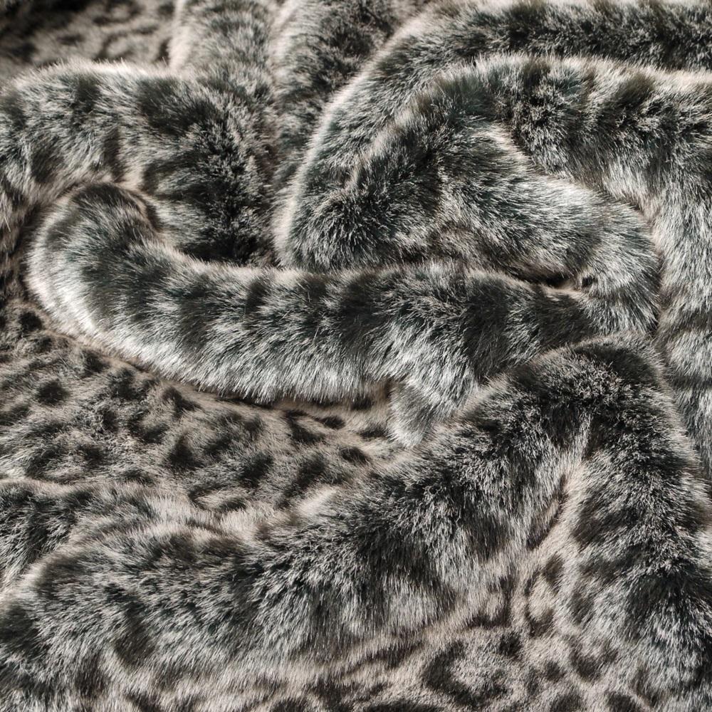 Image Of Gray Faux Fur Bedspread