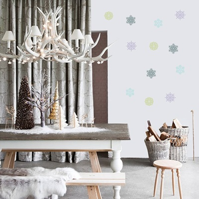 FESTIVE SNOW FLAKE WALL STICKERS in Pastel Colours