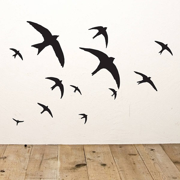 FLOCK OF BIRDS WALL STICKERS in Black