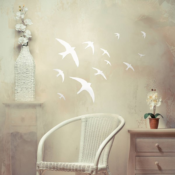 FLOCK OF BIRDS WALL STICKERS in White