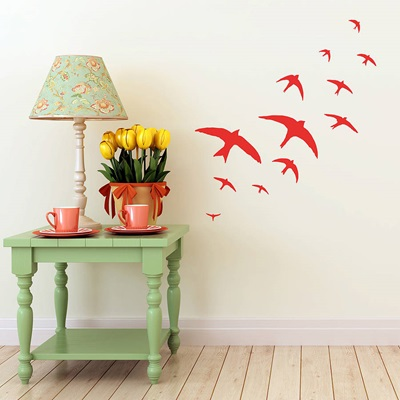 FLOCK OF BIRDS WALL STICKERS in Red