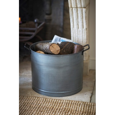 GALVANISED LOG BUCKET Set of Two by Garden Trading