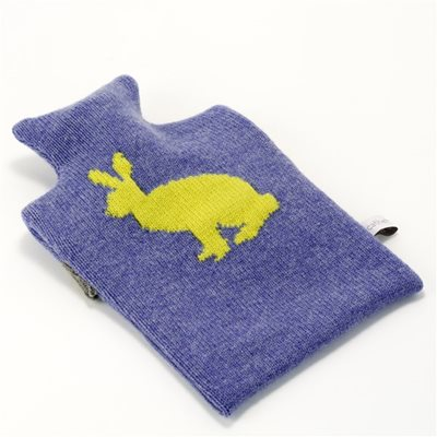 KNITTED LAMBSWOOL HOT WATER BOTTLE COVER Gold Rabbit