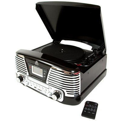 GPO MEMPHIS VINYL TURNTABLE with MP3, FM Radio & CD Deck in Black