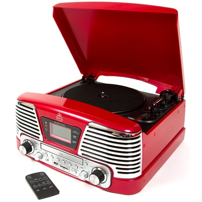 GPO MEMPHIS VINYL TURNTABLE with MP3, FM Radio & CD Deck in Red