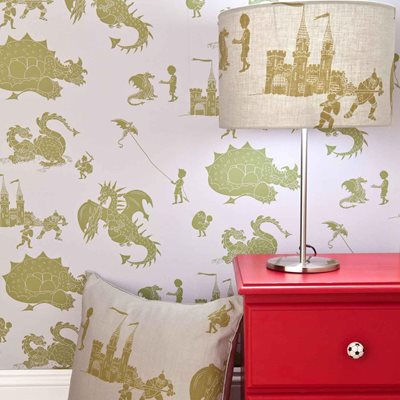 DESIGNER KIDS WALLPAPER- 'ere-be-dragons' in Green