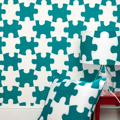 DESIGNER KIDS WALLPAPER- 'It's a Puzzle' in Dark Green
