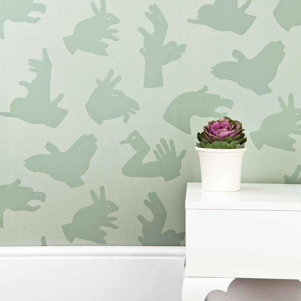Designer kids wallpaper 39 hand made 39 in green bedroom for Unique childrens wallpaper