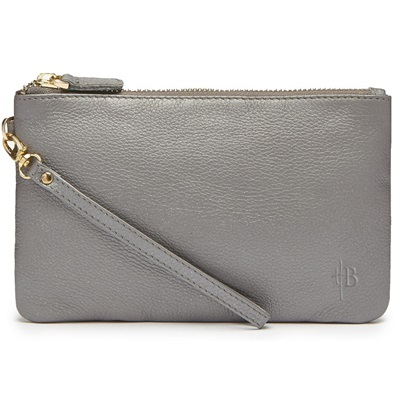 PHONE CHARGING MIGHTY PURSE in Grey Shimmer Cow Leather