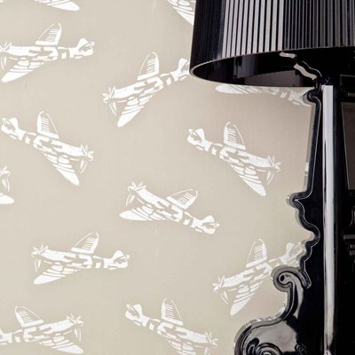 DESIGNER KIDS WALLPAPER- 'Spitfire' in Grey Brown