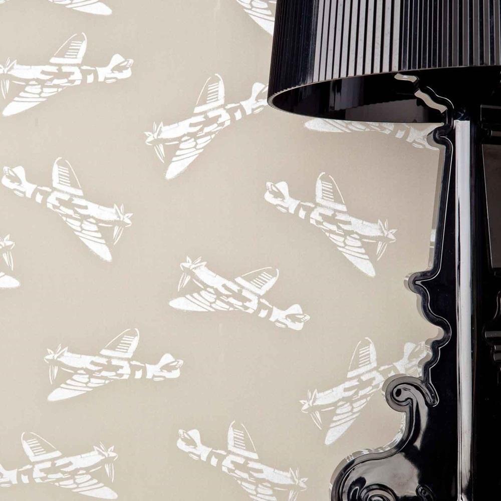 Designer kids wallpaper 39 spitfire 39 in grey brown for Unique childrens wallpaper