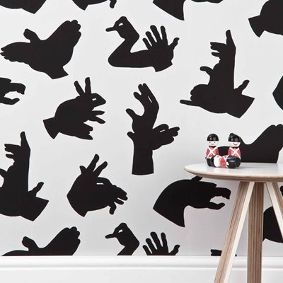 DESIGNER KIDS WALLPAPER- 'Hand Made' in Grey